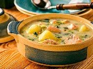 Рецепта Финландска супа със сьомга, картофи и сметана